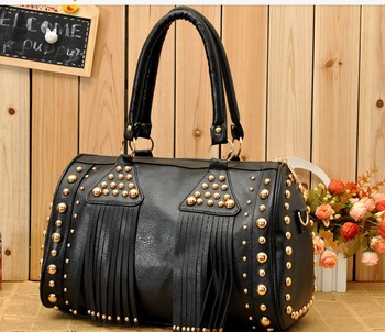 2013 Fashion women's handbag rivet tassel shoulder bags PU leather tote Lady hobo Satchel Free Drop Shipping NB0091