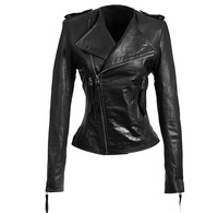 Genuine sheepskin leather clothing female oblique zipper o-neck slim fashion street motorcycle paragraph