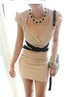 ladies fashion sheath above knee short puff sleeve deep V neck solid  sexy slim club korean dress free shipping A604-572