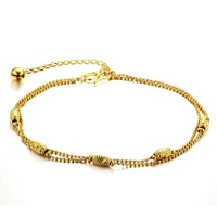 (min order 10$)Hottest!!!!!! Personalized double chain anklets 18K gold plated ankle bracelets for lady woman girls 720