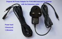Standard 5V 2A UK Power Adaptor for FOSCAM FI8918W, FI8910W, Vstarcam indoor ip cameras with 3m Extension cable