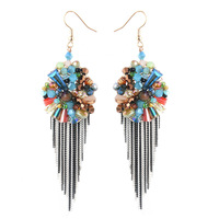 Free Shipping 2013 New Fashion High Quality  Multi-Color Crystal Beads + Chain Tassle  Handmade Korean Style Earrings Wholesale