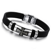 (min order 10$)Factory price silicone bracelets personalized cross titanium bangle for man 803B