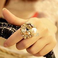 LY4# Golden Elegant Girls Imitation Pearl Roses Ring