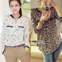 Free shipping 2013  New British style lady chiffon leopard shirt. D108