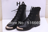 2013 FREE Shipping brand heelless black lace genuine PU leather ankle metal toe shoes ladies fashion boots sneakers