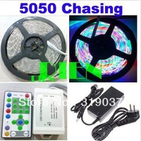 5050 RGB LED Strip Horse Race SMD Chasing Flexibale Light 270 LED 5M Dream Color+Controller+6A power supply Free Shipping 1set