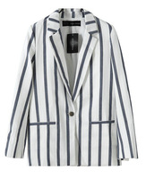 Free shipping 2013 womens double pocket stripe long-sleeve Suit jacket blazer business suit for women