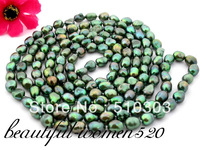 "50"" 13mm green baroque freshwater pearl necklace"