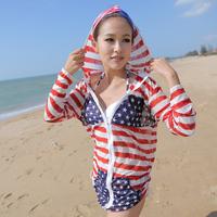 wholesale 3pcs/lot Small peach swimwear wind fashion hoodie sun protection beach clothing outerwear