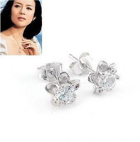925 pure silver sparkling diamond series stud earring