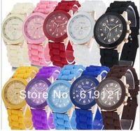 High Quality  Fedex Free Shipping  300pcs/lot Fashion Classic GENEVA Silicone Crystal Men &Lady Jelly Gifts Stylish Watch