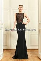 Round Neck See Through 2013 Black Sexy Cap Sleeves A line Chiffon Zuhair Murad Evening Dresses