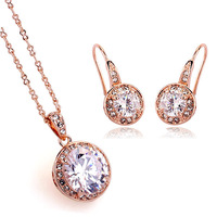 italina party accessories 18 k gold plated super zircon necklace and earrings suit