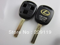 Lexus 3 hole button straight transponder Toy48 car remote case key blank shell fob  Short blade High Quality