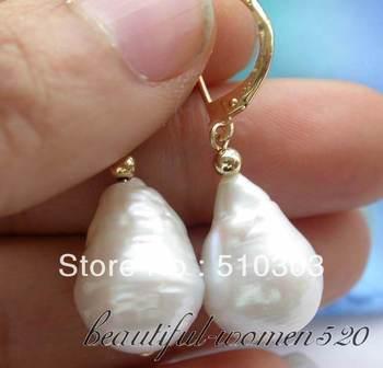22mm white baroque keshi reborn pearl dangle earring