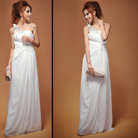 Sexy silk beading plain design long one-piece dress wedding evening dress formal dress
