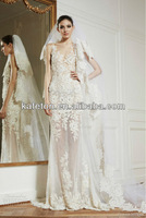 Vintage Style 2013 Alexandra Lace Sheath Appliques See Through Elegant Bridal Zuhair Murad Wedding Dresses