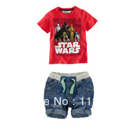 2013 new childrens clothing,children's set,high quality boy handsome red Star Wars t shirt+cowboy leisure suit,free shippng