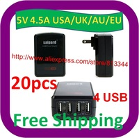 20 pcs Free Shipping 5V 4.5A 4 port usb charger for smart phone/ MP3 /Tablet PC UAS/EU/UK/AU Plug