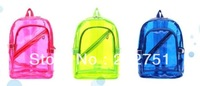 Neon Color Transparent Candy Crystal School Bag Backpack Women's Backbags Student Shoulder Bag Girl Boy Backages