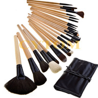 New Professional 24 Cosmetic Makeup Brush Kit Make Up Brush Tools Set +Black Leather Case