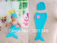 1pc Beautifull Mermaid Newborn Baby Crochet Velvet Aminal Beanie Hat Costume Set Photo Cap Prop For 0-12 Months Free shipping