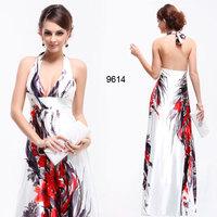 100 Silk Women's Dress spring summer halter-neck print chinese style design  evening Plus size xxxl xxxxl sexy dress Chiffon