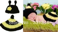 1pc Honeybee bee Newborn Baby Crochet Velvet Aminal Beanie Hat Costume Set Photo Prop Cap  For 0-12 Months Free shipping