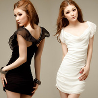 2013 women's sexy diamond slim chiffon short-sleeve dress slim hip