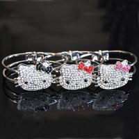 Wholesale Lots Free shipping 2013 Fashion Cute Hello Kitty Cat Animal Friendship Charm Bangle Jewelry
