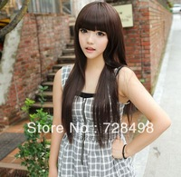 New style Dark Brown Fashion Long straight women's Girl full Hair Wig cosplay