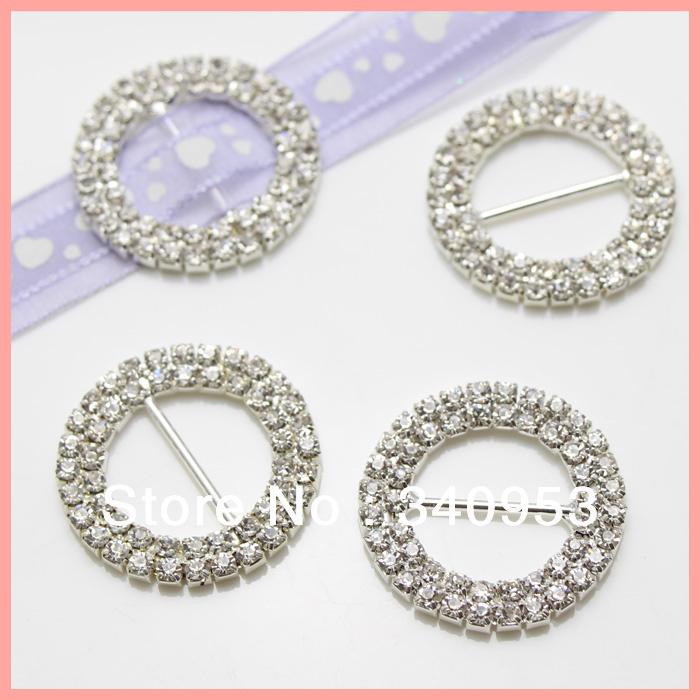Rhinestones buckle, 32mm Double Row Round Cryastal Belt Buckle For Weddings/Chair Sash/ jewelry/ napkin rings/Ribbon(China (Mainland))