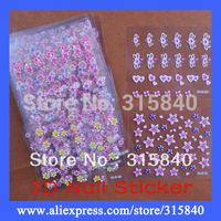 60 Sheets New 2014 3D Design Nail Art Sticker Decorations Tip Beauty Nails Polish Tools Mix Flower -- NLP144 PA33 Retail