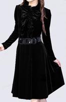 2013 gentlewomen slim ol solid color elegant plus size clothing long-sleeve velvet one-piece dress,women XXL-5XL dress,clothing