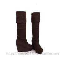shoes 2012 spring and autumn boots velvet wedges platform over-the-knee high-leg boots high-heeled boots  boots for women