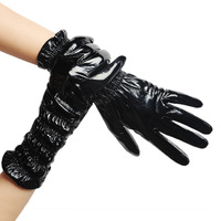 Fashion medium-long lyyn normic black japanned leather pleated women's sheepskin gloves