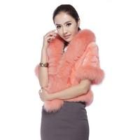 2014 Ladt Genuine Piece Mink Fur Jacket Coat with Fox Fur Collar Short Sleeve Winter Women Fur Outerwear Bridal Coats VK0976