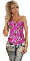 2013 Popular Hot Style,Factory Direct, Quality Assurance,Sexy Denim Flowers Overbust Corset,2 Colors,S/M/L/XL2XL,Q2767-Rose