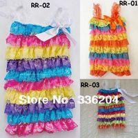 Free Shipping(MOQ 5pcs/lot) Petti Lace Romper Rainbow Multi, Gorgeous Baby Toddler Three Size(S,M,L)
