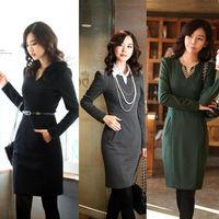 New Fashion Elegant Autumn Dresses Women Ladies Slim Hip OL Work Women V Neck Casual Dress With Belt Free Shipping Plus Size Xl