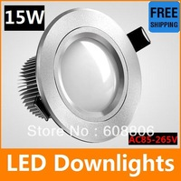 15W CE CREE LED downlight, AC85-265V,include the drive, warm white/cool white high power led lighting Free shipping