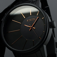 Charm Black Brand NEW Quartz Analog Watch Steel Band Mens watch quartz watch