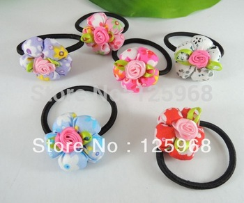 Free Shipping,2013 New Wholesale  Baby Girl Kids Tiny Hair Accessary Rose Flower Hair Bands Elastic Ropes Ties Ponytail Holder