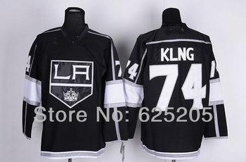 Men's Cheap Los Angeles Kings Hockey Jerseys #74 Dwight King Jersey Home Black Authentic LA Kings Jersey Stitched Jerseys