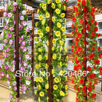 Free Shipping String Simulation Artificial Flowers Vine Arch Wall Wedding Home Decoration Garland holiday party decorations