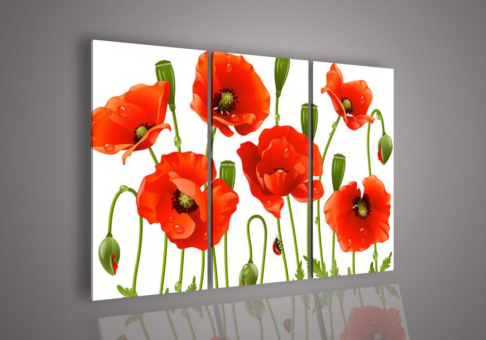 3 peça Wall Art pintura abstrata sem Modern Framed acrílico flor Red Poppy pintura a óleo sobre tela grande barato Pictures Decor(China (Mainland))