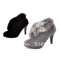 Free shipping,Hot sales,2013 New Arrival black and gray Nubuck Leather platform cony hair bowknot high heel shoes,women's shoes