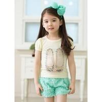 Fahion girls summer clothing sets tshirt+rose short kids clothes cotton tshirt children flower pants wholesale 5 sets