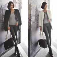 faux fur coat free  shipping Faux medium-long outerwear PU fur overcoat outerwear